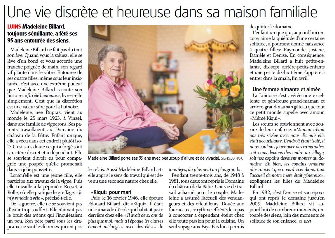 Madame Madeleine Billard à fêté ses 95 ans