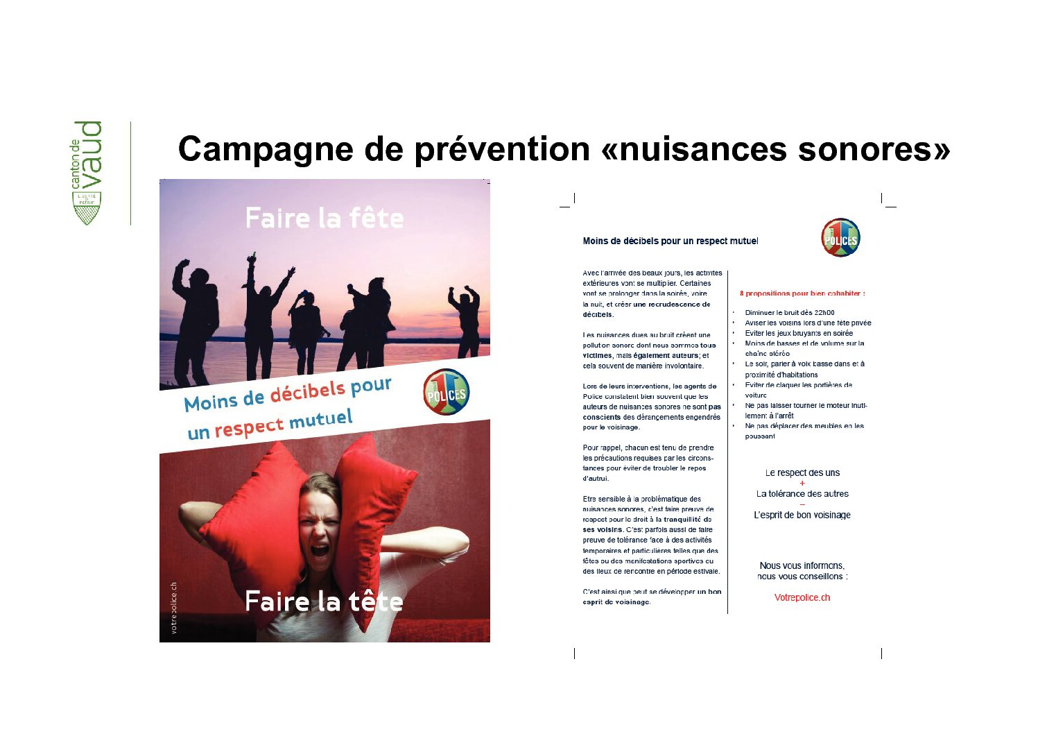 """Campagne de prévention """"nuisances sonores"""""""