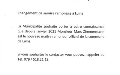 Changement du service de ramonage à Luins